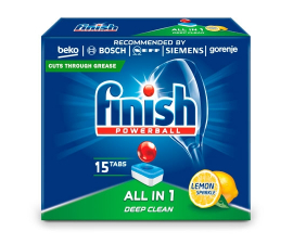 Finish Powerball All in 1 Lemon Diskmedeltabs - 15 stk