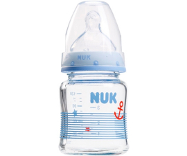 NUK First Choice Glasflaska 0-6 mån - Blå