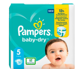 Pampers Baby-Dry Bleer Str. 5 (11-16 Kg) - 31 PCS