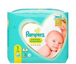 Pampers Premium Protection Str. 1 (2-5kg) - 26 stk