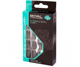 Royal Lösnaglar Smokey Grey Coffin - 24 st